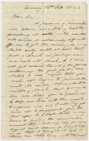 Edward Hitchcock letter to Benjamin Silliman, 1823 February 12