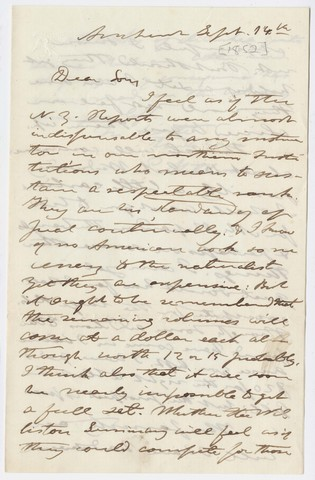 Edward Hitchcock letter to Edward Hitchcock, Jr., 1852 September 14