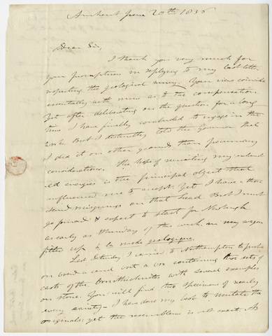 Edward Hitchcock letter to Benjamin Silliman, 1836 June 20