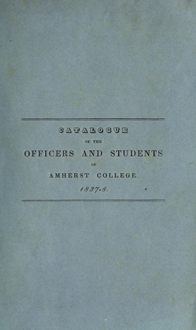 Amherst College Catalog 1837/1838