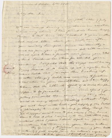 Edward Hitchcock letter to Sylvester Hovey, 1831 October 4