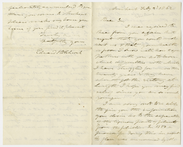 Edward Hitchcock letter to Henry J. Van-Lennep, 1862 February 3