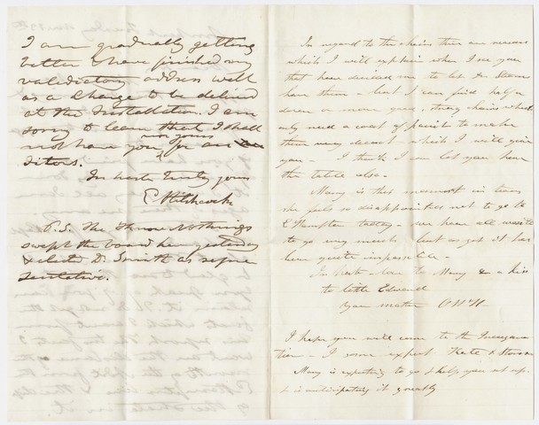 Edward Hitchcock and Orra White Hitchcock letter to Edward Hitchcock, Jr., 1854 November 13