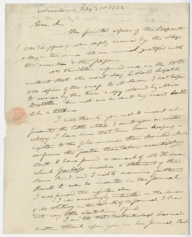 Edward Hitchcock letter to Benjamin Silliman, 1832 February 21