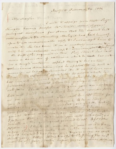 Benjamin Silliman letter to Edward Hitchcock, 1836 February 24
