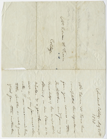 Edward Hitchcock letter of recommendation for Edwin W. Pierce, 1838 August 20