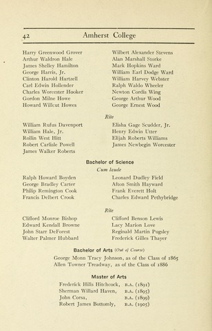 Amherst College Catalog 1906/1907