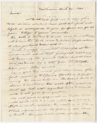 Benjamin Silliman letter to Edward Hitchcock, 1840 April 29