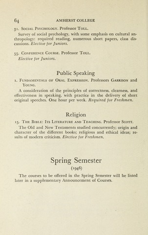 Amherst College Catalog 1945/1946