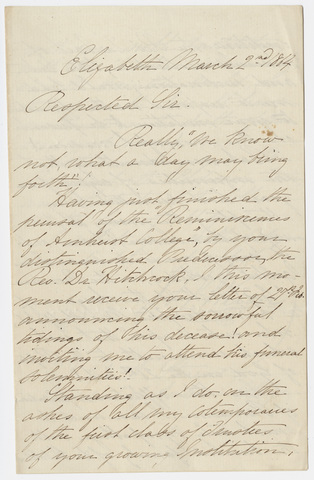 Sampson Vryling Stoddard Wilder letter to William Augustus Stearns, 1864 March 2