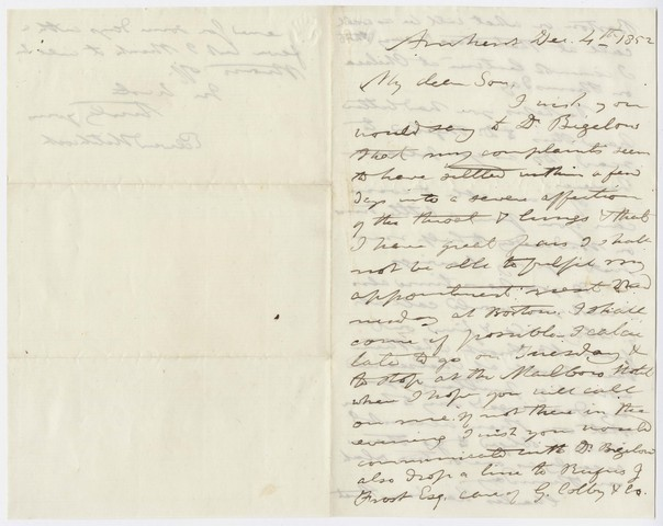 Edward Hitchcock letter to Edward Hitchcock, Jr., 1852 December 4