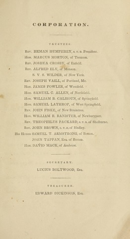 Amherst College Catalog 1836/1837
