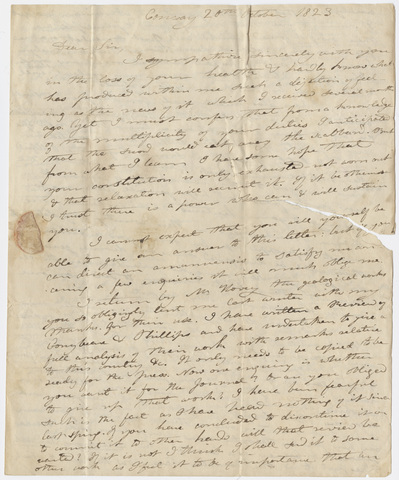Edward Hitchcock letter to Benjamin Silliman, 1823 October 20
