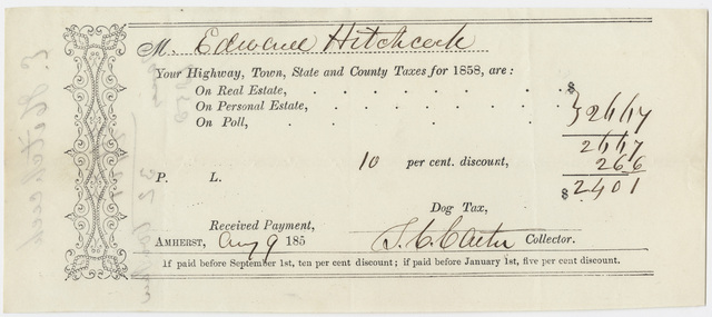 Edward Hitchcock receipt of payment to the town of Amherst, 1858