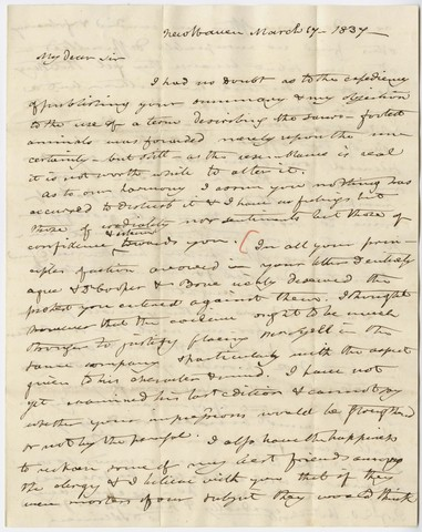 Benjamin Silliman letter to Edward Hitchcock, 1837 March 17
