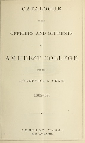 Amherst College Catalog 1868/1869