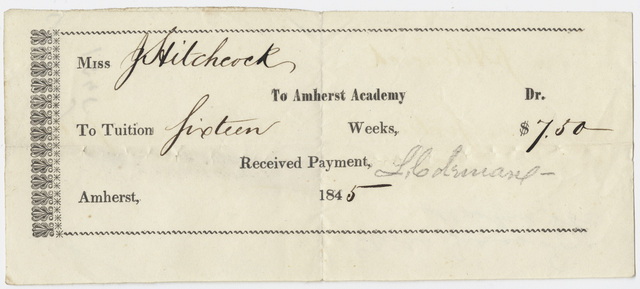 Edward Hitchcock receipt of payment to Amherst Academy, 1845