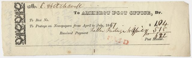 Edward Hitchcock receipt for the Amherst Post Office, 1851