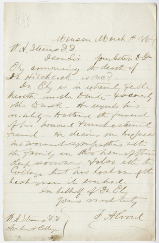 Frederick Alvord letter to William Augustus Stearns, on behalf of Alfred Ely, 1864 March 1