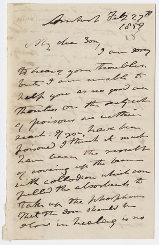 Edward Hitchcock letter to Edward Hitchcock, Jr., 1859 February 27