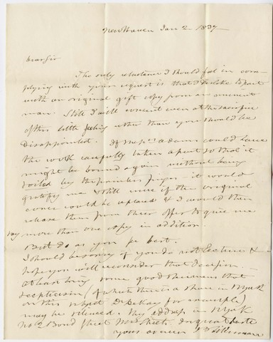 Benjamin Silliman letter to Edward Hitchcock, 1837 January 2