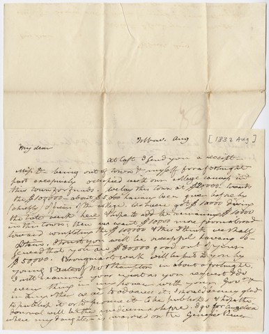 Benjamin Silliman letter to Edward Hitchcock, [1832] August