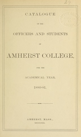 Amherst College Catalog 1880/1881