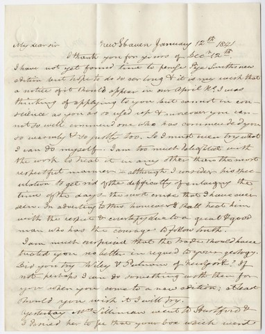 Benjamin Silliman and Benjamin Silliman, Jr. letter to Edward Hitchcock, 1841 January 12