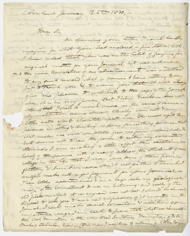 Edward Hitchcock letter to Benjamin Silliman, 1830 January 24