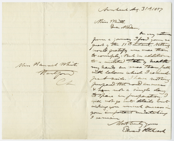 Edward Hitchcock letter to Hannah White, 1857 August 31
