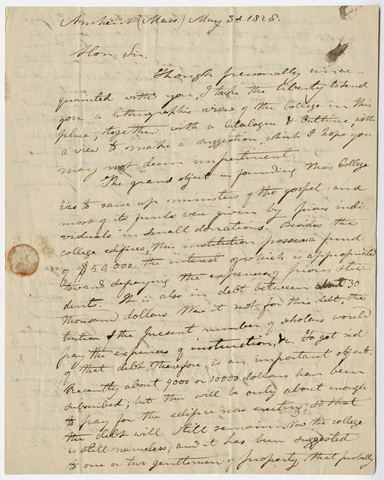 Edward Hitchcock letter to Stephen Van Rensselaer, 1828 May 3