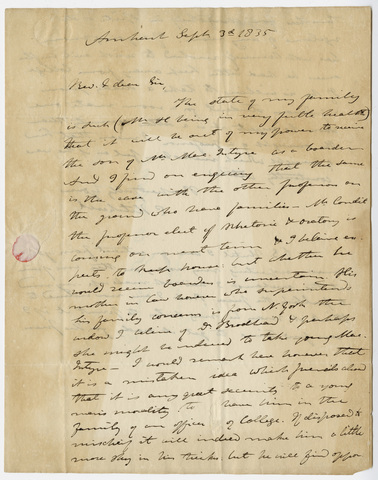 Edward Hitchcock letter to William B. Sprague, 1835 September 3