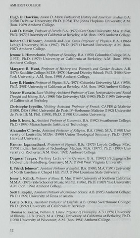 Amherst College Catalog 1999/2000