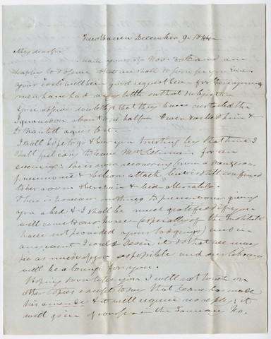 Benjamin Silliman letter to Edward Hitchcock, 1844 December 9