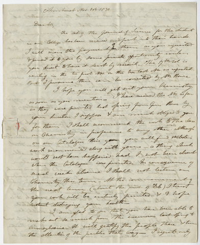 Edward Hitchcock letter to Benjamin Silliman, 1830 November 1