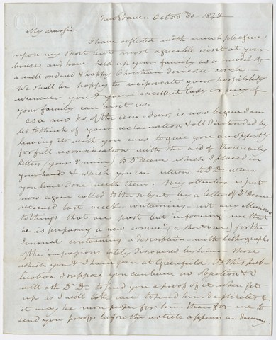 Benjamin Silliman letter to Edward Hitchcock, 1843 October 30