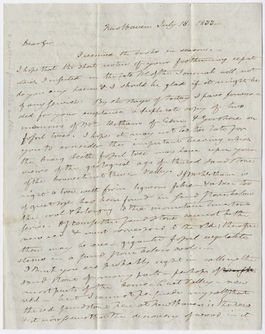 Benjamin Silliman letter to Edward Hitchcock, 1833 July 18