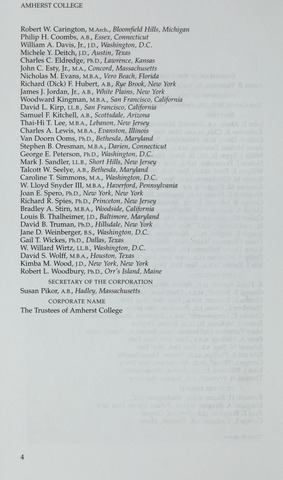 Amherst College Catalog 2001/2002