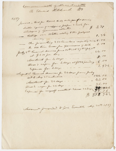 Edward Hitchcock geological survey expense account, 1837 August 24