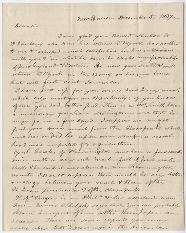 Benjamin Silliman letter to Edward Hitchcock, 1837 December 5