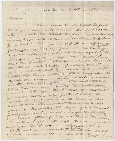 Benjamin Silliman letter to Edward Hitchcock, 1835 October 9