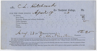 Edward Hitchcock receipt of payment to Amherst College, 1853 August 23