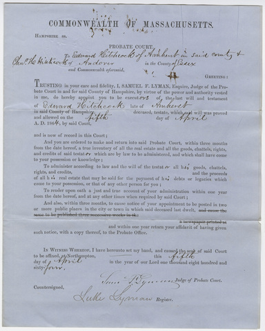 Samuel Lyman appointment of executors of Edward Hitchcock's last will and testament