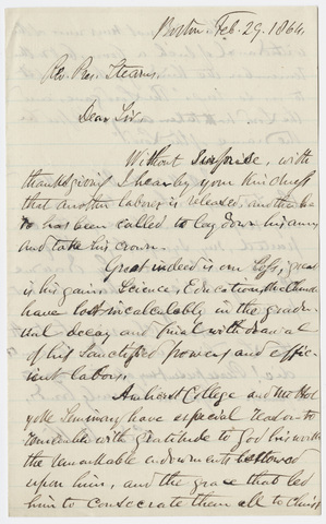 Edward Norris Kirk letter to William Augustus Stearns, 1864 February 29
