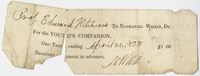 Edward Hitchcock receipt of payment to Nathaniel Willis, 1838 April 21