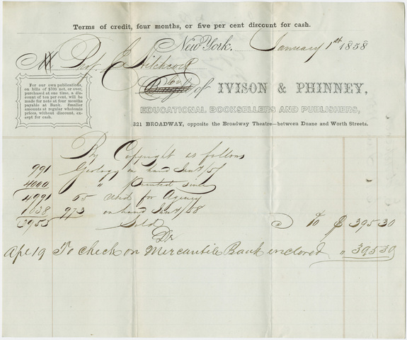 Ivison & Phinney royalty statement for Edward Hitchcock, 1858 January 1