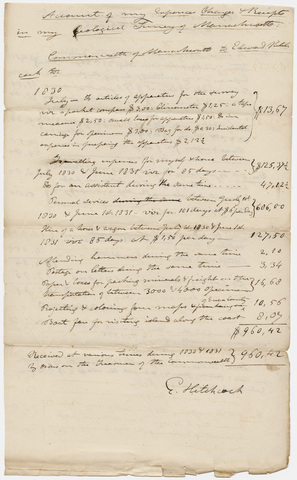 Edward Hitchcock geological survey expense account, 1830 to 1832