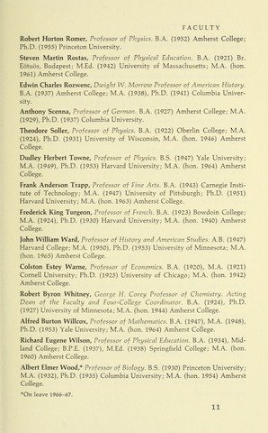 Amherst College Catalog 1966/1967