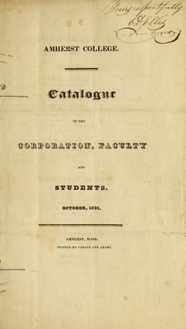 Amherst College Catalog 1825/1826