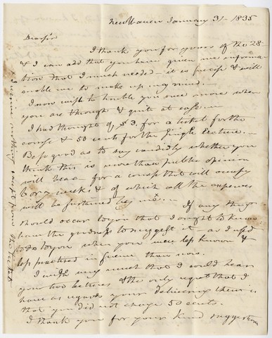 Benjamin Silliman letter to Edward Hitchcock, 1835 January 31